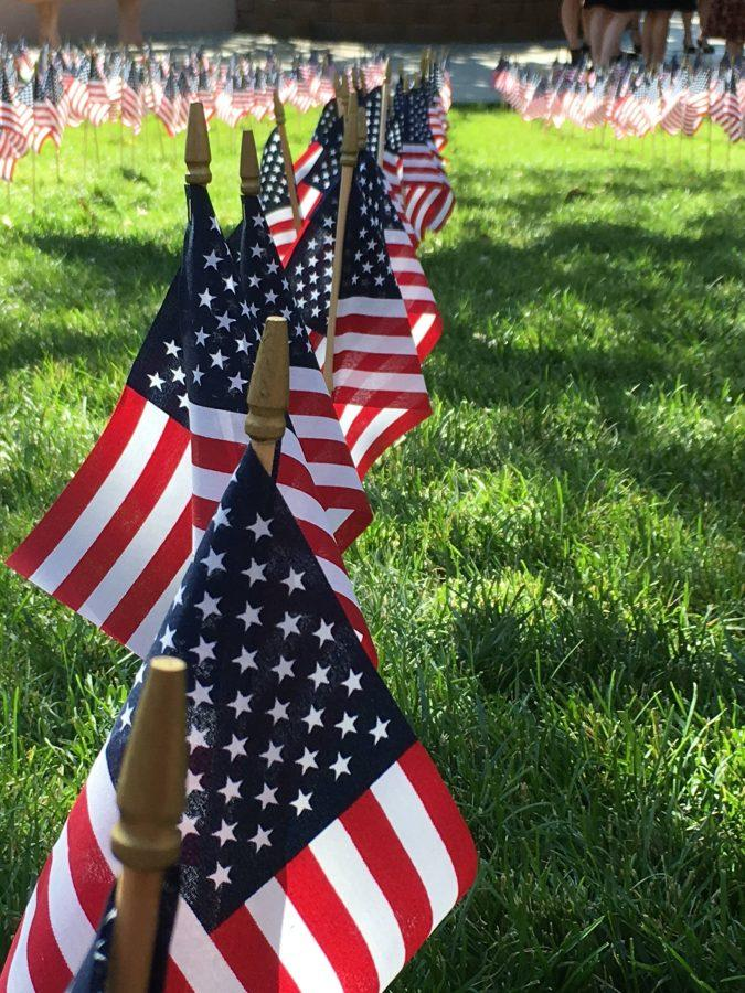 Throughout the amphitheater, flags were placed in memory of the victims of the 9/11 attacks.
