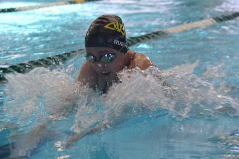 Freshman Sophia Rubino swims the 100 Breaststroke in hopes of making to regionals.
