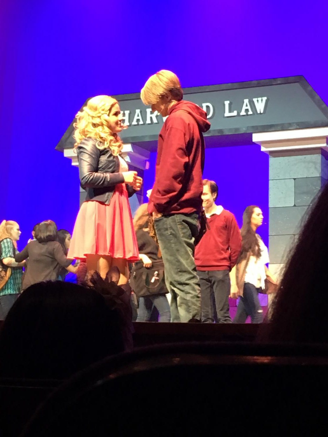 Faith Lutheran's Tyler Owen leads the cast of Legally Blonde, playing Emmett opposite Elle Woods performed by Maddy Appleyard of Palo Verde High School at the  Summerlin Library.