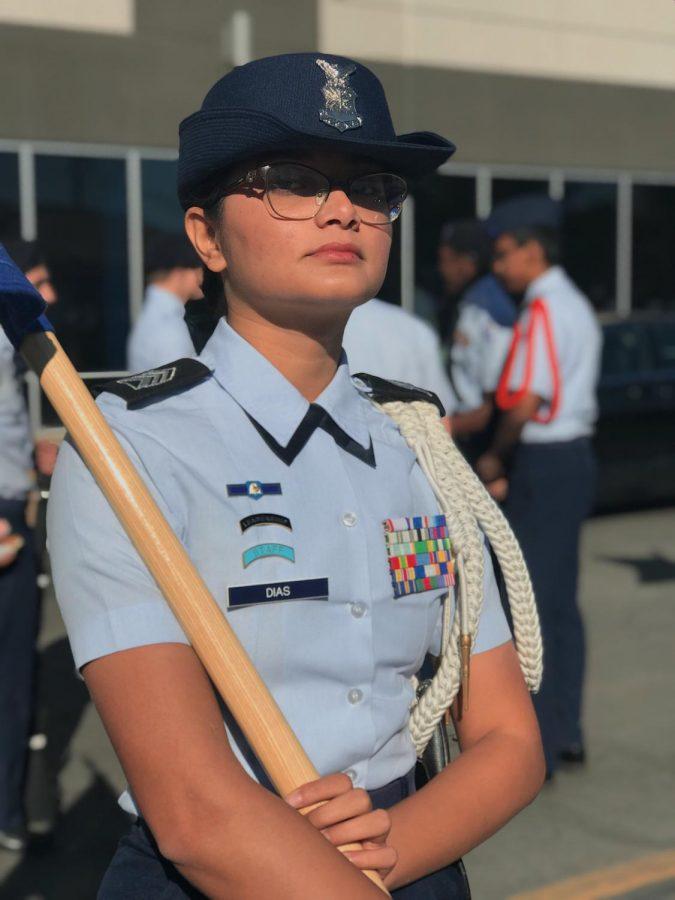 Dias in uniform at a JROTC event
