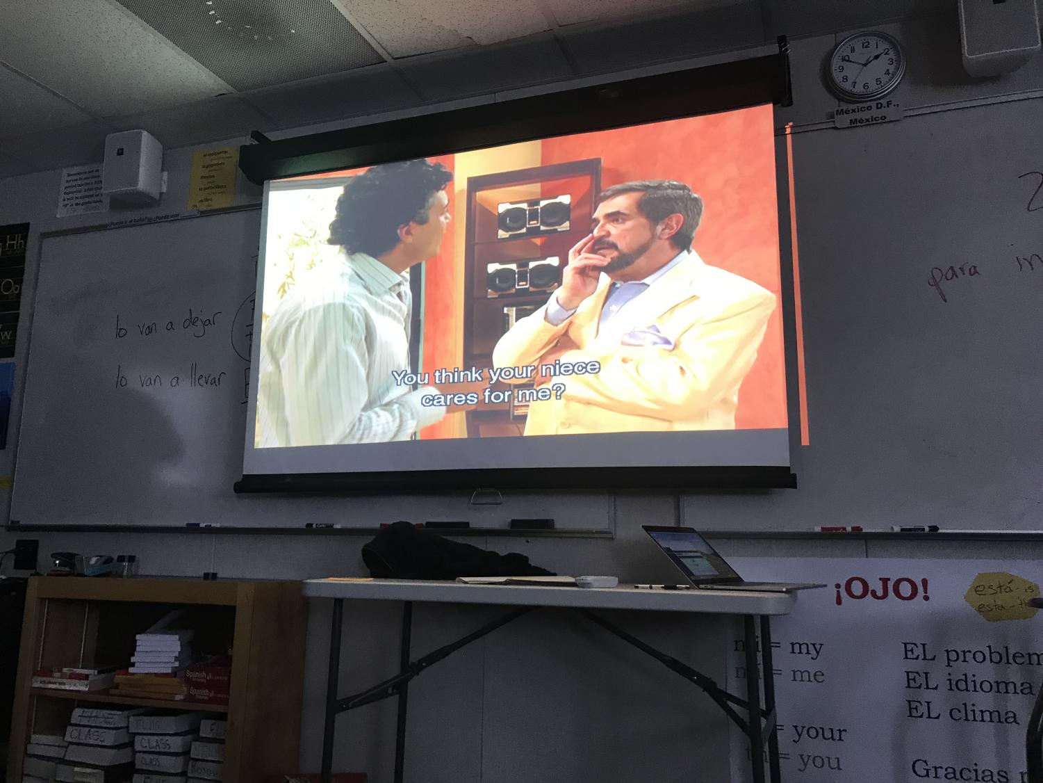One of the many Telenova's watched in Spanish Soap Opera Club, plays on screen in Mr. Heupel's room during advisory.